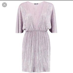 Boohoo Metallic Plunge Dress